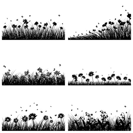 Illustration pour Set of 6 Meadow Backgrounds With Flowers and Butterflies. - image libre de droit
