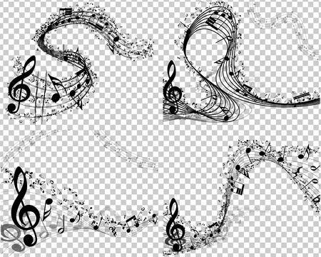 Illustration pour Set of 4 Musical Backgrounds With Transparent Backgrounds - image libre de droit