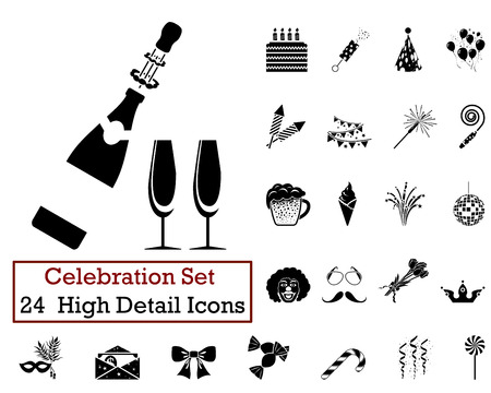 Illustration pour Set of 24 Celebration Icons in Black Color. - image libre de droit