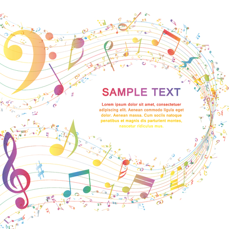 Illustration for Multicolor Musical Design From Music Staff Elements With Treble Clef And Notes With Copy Space. Elegant Creative Design Isolated on White. Vector Illustration. - Royalty Free Image