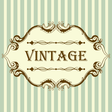 Photo for Vintage Frame With Retro Ornament Elements in Antique Rococo Style. Elegant  Decorative Design. Vector Illustration. - Royalty Free Image
