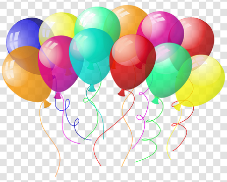 Illustration pour Transparent colorful balloons in air on gray grid background. Vector illustration. - image libre de droit
