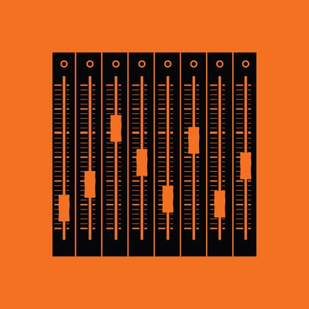 Illustration pour Music equalizer icon. Orange background with black. Vector illustration. - image libre de droit