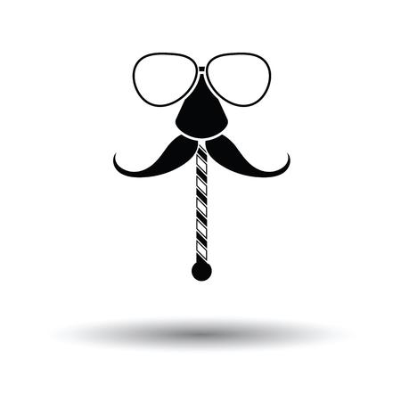 Illustrazione per Glasses and mustache icon. White background with shadow design. Vector illustration. - Immagini Royalty Free