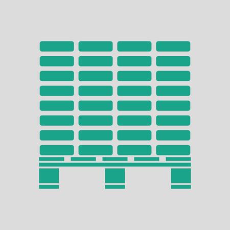 Ilustración de Icon of construction pallet . Gray background with green. Vector illustration. - Imagen libre de derechos