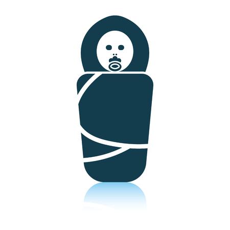 Illustration pour Wrapped infant icon. Shadow reflection design. Vector illustration. - image libre de droit
