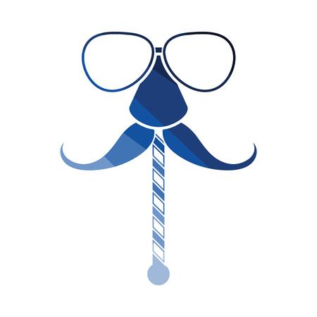 Illustrazione per Glasses and mustache icon. Flat color design. Vector illustration. - Immagini Royalty Free