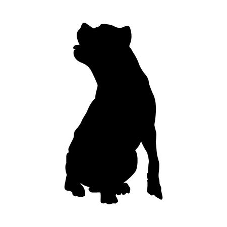 Illustration pour Pit Bull Terrier Dog Silhouette. Smooth Vector Illustration. - image libre de droit