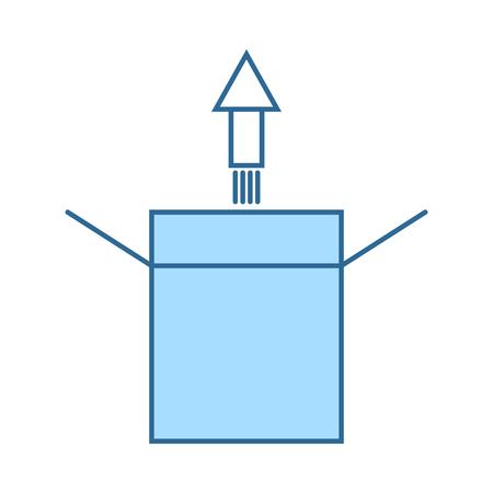 Illustration pour Product Release Icon. Thin Line With Blue Fill Design. Vector Illustration. - image libre de droit