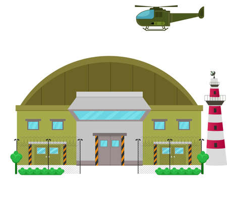 Illustration pour Military Base camp flat design Illustration - image libre de droit