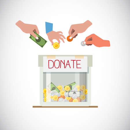 Illustration for Donation box with hand - vector illustration - Royalty Free Image