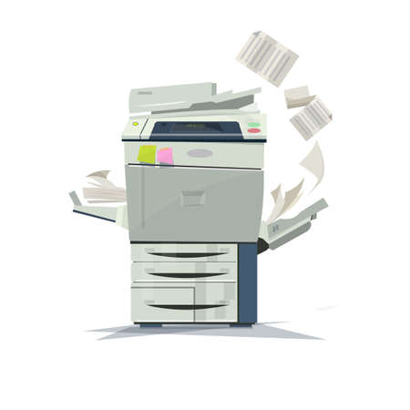 Illustration for working copier printer - vector illustration - Royalty Free Image