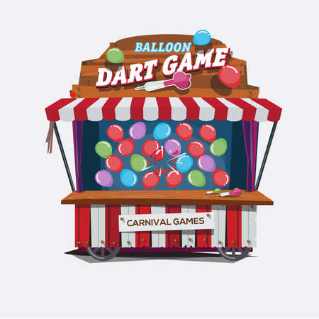 Illustration pour balloons dart game. carnival cart concept - vector illustration - image libre de droit
