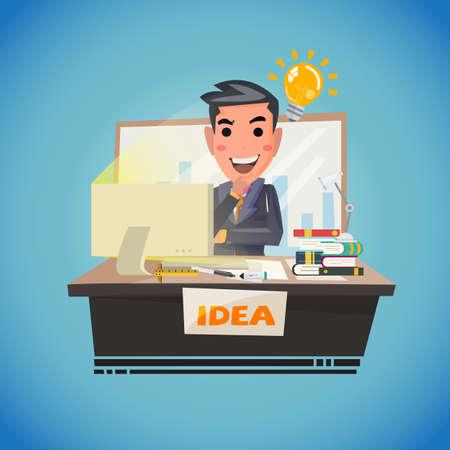 Ilustración de Businessman thinking with light bulb. creative idea. smart thinking - vector illustration - Imagen libre de derechos
