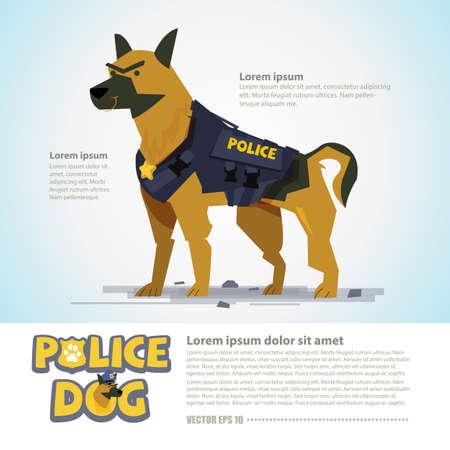 Illustration pour smart police dog in uniform. character design come with typographic  - vector illustration - image libre de droit