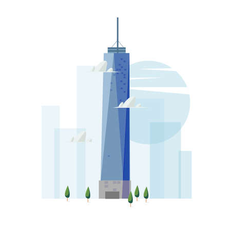 Illustration for freedom tower building. famous landmark concept - vector - Royalty Free Image