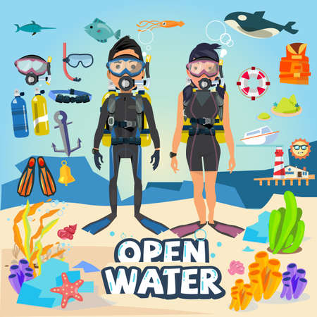 Illustration pour Scuba diving. male and female character design with equipment and graphic element. typographic design for header - vector illustration - image libre de droit