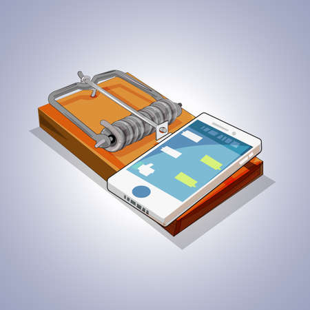 Illustrazione per Mouse trap with mobile phone. social media and  internet addiction concept - vector illustration - Immagini Royalty Free