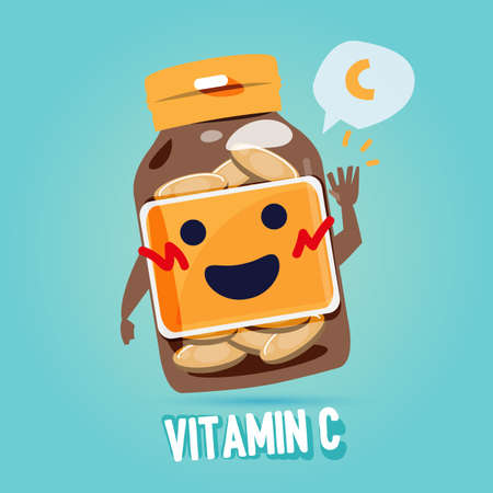 Ilustración de bottle of vitamin c with cab character design. benefit of vitamin concept - vector illustration - Imagen libre de derechos