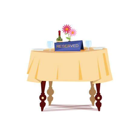 Illustration for Reserved sign on the table in restaurant. - Royalty Free Image