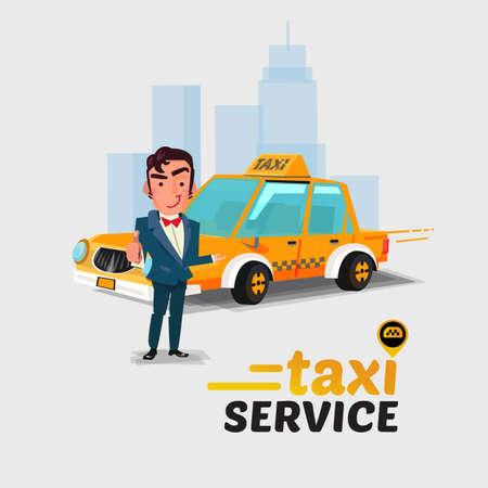 Illustration pour Taxi car and driver in action taxi concept. - image libre de droit