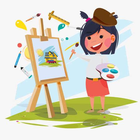 Illustration pour Girl painter with canvas icon. - image libre de droit