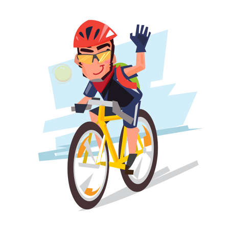 Illustration pour Young bicyclist man with bike sport concept illustration. - image libre de droit