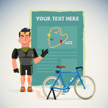 Ilustración de Male cyclist with map. - Imagen libre de derechos