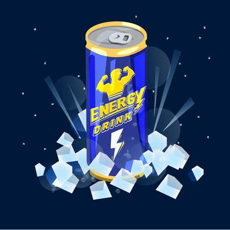 Ilustración de Can of Energy Drink on ice icon. - Imagen libre de derechos