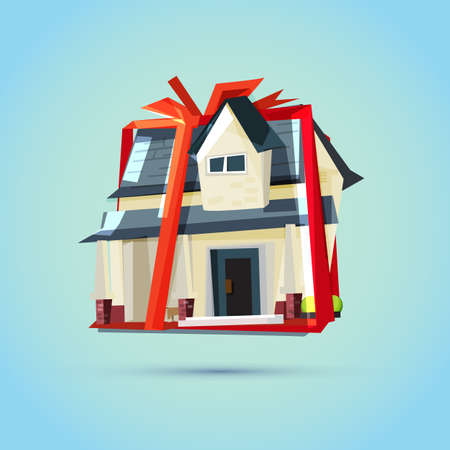 Illustration pour House as a gift for you.Real Estate, Property & Homes concept - vector illustration - image libre de droit
