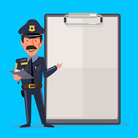 Ilustración de Smiling male police officer with report paper. presentation concept. character design - vector illustration - Imagen libre de derechos