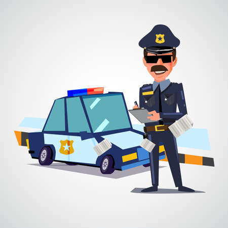 Illustration pour Police officer writing ticket with police car. character design - vector illustration - image libre de droit