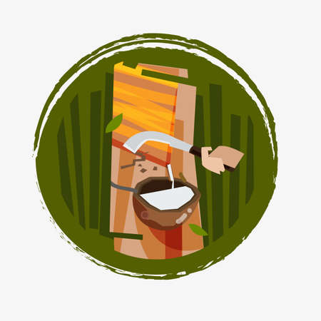 Illustration for Rubber tapping - vector illustration - Royalty Free Image