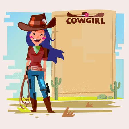Ilustración de Cowgirl with Lasso with paper to presentation. - Imagen libre de derechos