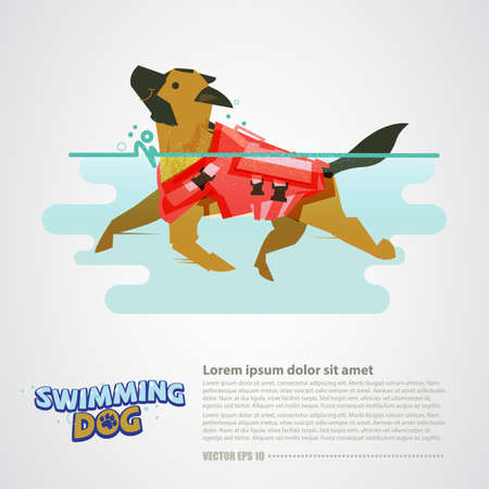 Illustration for Dog with lifeguard swimming in the water vector illustration - Royalty Free Image