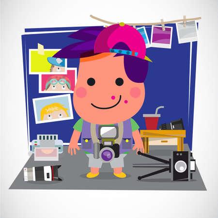 Ilustración de Photographer boy concept. Boy with various of camera and equipment in his bed room. Favorite and activity concept - vector illustration - Imagen libre de derechos