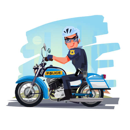 Ilustración de Police officer riding motorcycle with city in background. character design. Motorcycle Cop - vector illustration - Imagen libre de derechos