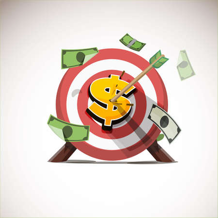 Illustration for arrows hitting the center of money icon - vector illustration - Royalty Free Image