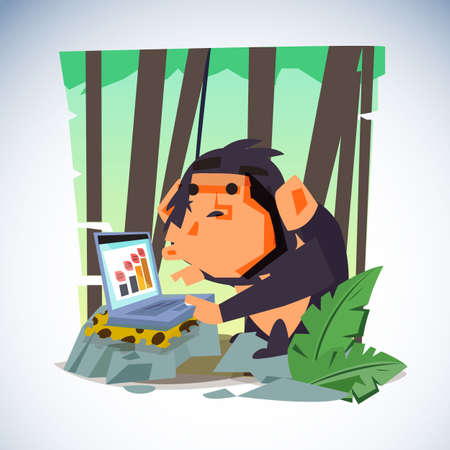 Illustration for Clever monkey with laptop computer. character design - vector illustration - Royalty Free Image