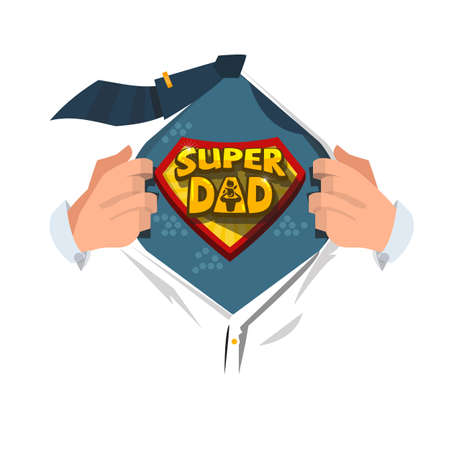 Illustration pour Man open shirt to show Super Dad typographic  in comic style. super father concept - vector illustration - image libre de droit