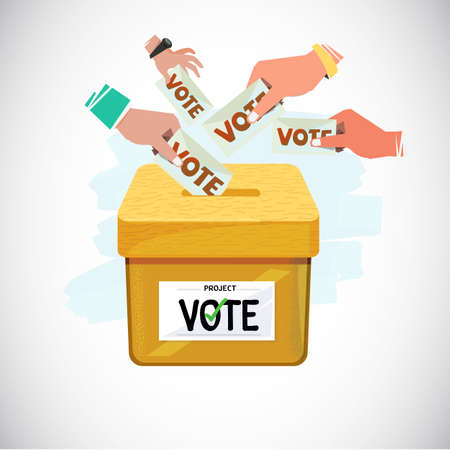 Illustration pour Hand Putting Vote Into Box. Voting and democracy concept - vector illustration - image libre de droit