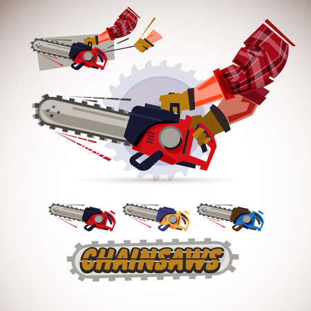 Ilustración de Chainsaw holding by male arms . hand pulling sling to start engine. Set of chainsaws with typographic design. - Imagen libre de derechos