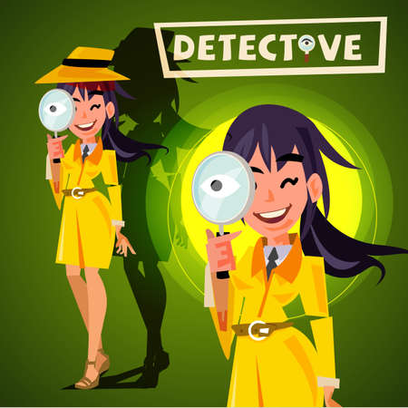 Ilustración de cute detective girl holding magnifying glass to watchin. character design - vector illustration - Imagen libre de derechos
