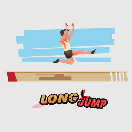 Illustration for Long jump athlete in  action with typographic - vector illustration - Royalty Free Image