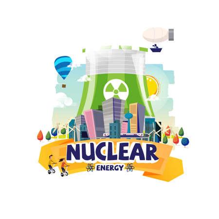 Ilustración de Green Nuclear Power Plant with the big city. - Imagen libre de derechos
