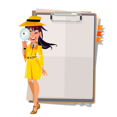 Illustration pour cute detective girl with Magnifier her hand stand up front paper board. presenting concept - vector illustration - image libre de droit