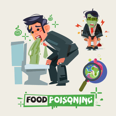 Illustrazione per businessman get diarrhea in toilet. man in pain vomiting. food poisioning concept. - Immagini Royalty Free