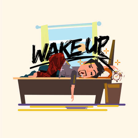 Illustration pour asleep lazy man try to stopping alarm clock in the morning. lazy to wake up concept - image libre de droit