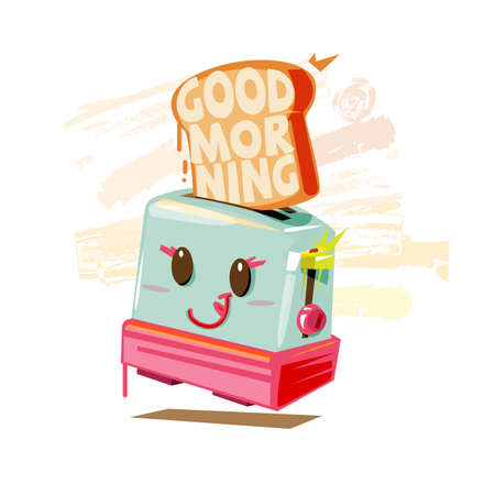 Illustration for Toaster cute character and GOOD MORNING text inside toasted bread. typographic. happy morning and breakfast concept - vector illustration - Royalty Free Image