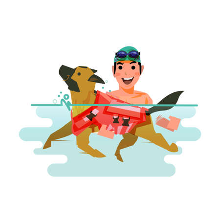 Ilustración de Dog swimming with owner. pet learn to swim concept - vector illustration. - Imagen libre de derechos